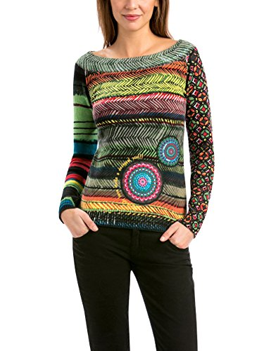 Desigual Women's Long Sleeve Pullover with Elastic Cuffs, Verde Caza, Small