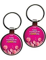 Today Is Going To Be A Great Day Metal Key Chain Set Of 2