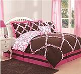 Brown Pink Flower Comforter Set Twin 5 Pieces Pillows Bedskirt Floral