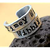 Pair of Doctor Who Rings - Wibbly Wobbly and Timey Wimey - Hand Stamped Adjustable Narrow Aluminum Bands