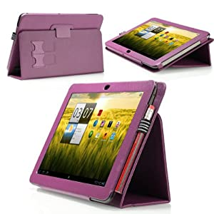 MoKo Folding Cover Case With Stand for Acer Iconia Tab A200 Android Tablet (Purple)