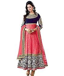 Bhakti Creation Women Brasso Anarkali Gown Dress Material (Pink)