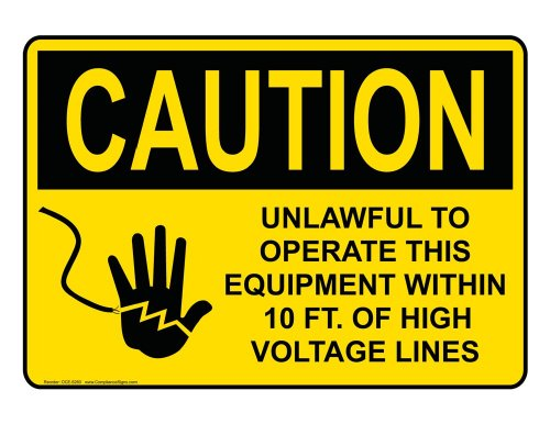 Compliancesigns Aluminum Osha Caution Sign, 14 X 10 In. With Electrical High Voltage Info In English, Yellow