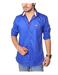 Nation Polo Club Men's 100% Cotton Lycra Coduroy Pattern Slim Fit Casual Royal Blue Color Shirt