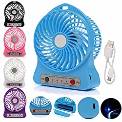 Insasta 3 Speeds Electric Portable Mini fan Rechargeable Desktop Fan Battery and USB Charge Cable
