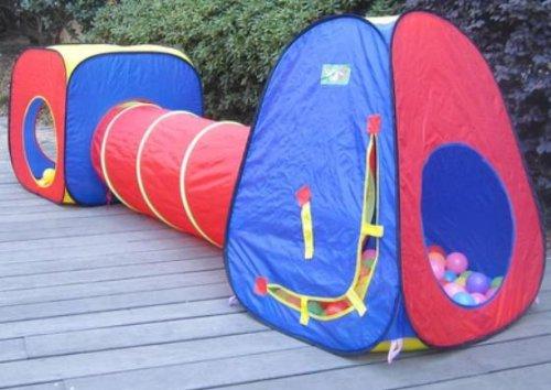 ボールハウス テントセット ボールプール わくわくトンネル 秘密基地 室内 室外 どちらもOK! 専用収納ケース付き!! (赤×青)