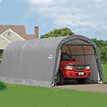 Big Sale ShelterLogic Round Style Shelter, 1-3/8-Inch 6-Rib Frame, 12-Feet × 20-Feet × 8-Feet, Grey