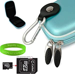 Sky Blue VanGoddy Compact Camera Accessories Stylish Slim Sony CyberShot TX100V TX55 W530 W610 W570 W620 W650 W510 W560 WX9 TX10 WX10 Protective Cover + 4GB SD Card + VanGoddy LIVE * LAUGH * LOVE Wristband