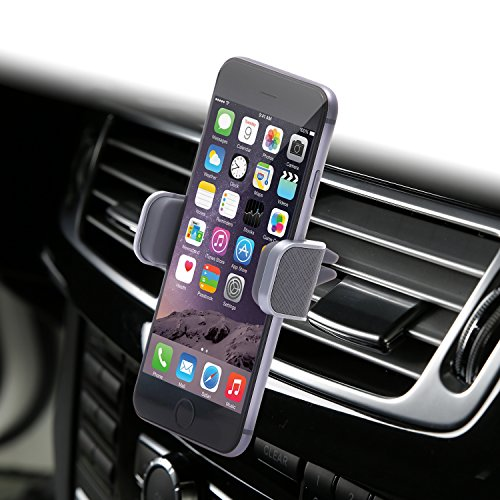 Dash Crab MONO - Genuine Leather Car Mount, Luxury Premium Air Vent Cell Phone Car Holder for iPhone 7 Plus 6 6s Plus Samsung Galaxy S7 S6 Edge Note 5, Universal Grip - Retail Pack (Grey) (Air Conditioner Phone Holder compare prices)