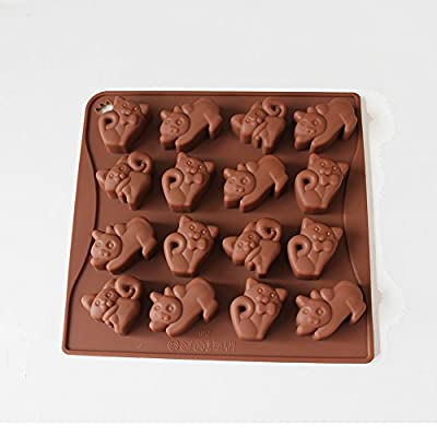 X-Haibei Cute Cat Kittens Chocolate Candy Soap Jello Silicone Mold Baby Shower Favor