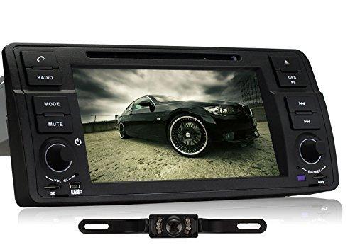 Pumpkin 7 Zoll 1 Din Autoradio Naviceiver fuer BMW E46 M3 318 320 325 330 335 1998-2006 mit Touch Screen Unterstuetzt GPS Navigation Bluetooth USB iPod Lenkradfernbedienung (7 Zoll mit Rueckfahrkamera)