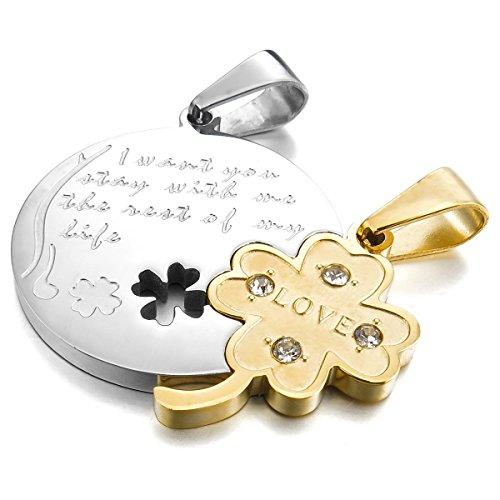 MunkiMix 2 PCS Acciaio Inossidabile Pendente Ciondolo Collana Argento Oro Clover Trifoglio Jigsaw Uomo,Donna ,catenina lunga 50 & 58 cm inclusa