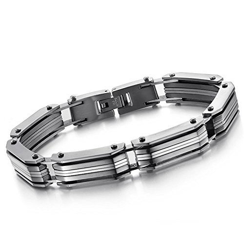 Bemaystar Vintage Men'S Titanium Stainless Steel Bracelets Link Chain Simple Wristband Silver