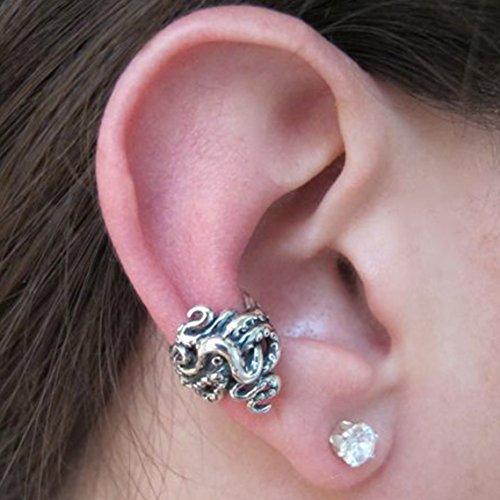 Silver Ear Cuff Octopus Ear Cuff Tentacle Twist Ear Cuff Octopus Jewelry Steampunk Ear Cuff Earcuff Non-Pierced Earring Tentacle Jewelry