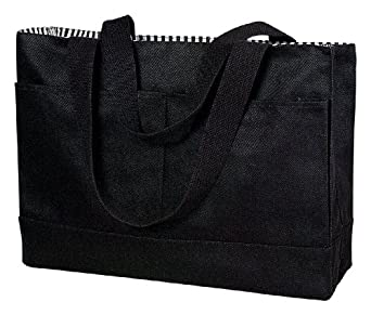 Double Pocket Canvas Tote,One size,Black