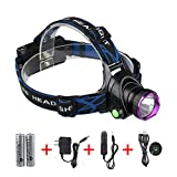Waterproof LED Flashlight , Cree XM-L T6 Beam , 1800 Lumens , 3 Modes , Adjustable Thick Head Strap , Outdoor Rechargeable Headlamp Headlight , Head Light Lamp Torch for Camping Hiking Fishing BBQ Repairing Night Walking Morning Running