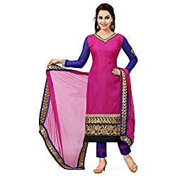 ZHot Fashion Women's Embroidered Un-stitched Dress Material In Cotton Fabric (ZHBHD1001) Pink