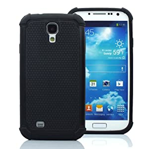 CaseMore Black Plastic + Silicon Material Protective Armor Case for Samsung Galaxy S4 S IV i9500