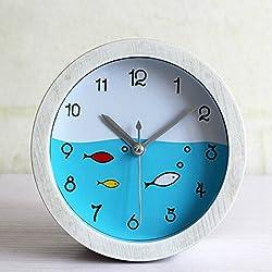 Alrens(TM)4.7 White Round Fishes 3D Table Desk Clocks Retro Vintage Wood Grain Alarm Clock Desktop Clock Children Room Bedroom Home Decor Creative Timepiece Clock Art