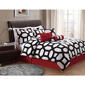 Red white and black comforter sets car tuning