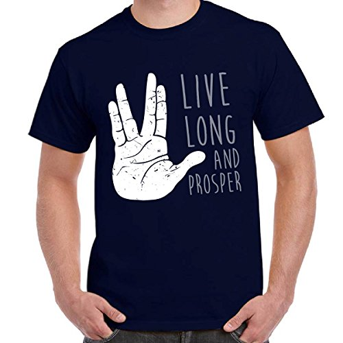 T-Shirt Serie TV Star Trek Maglietta Scura Stampa Live Long And Prosper, Colore: Navy, Taglia: L