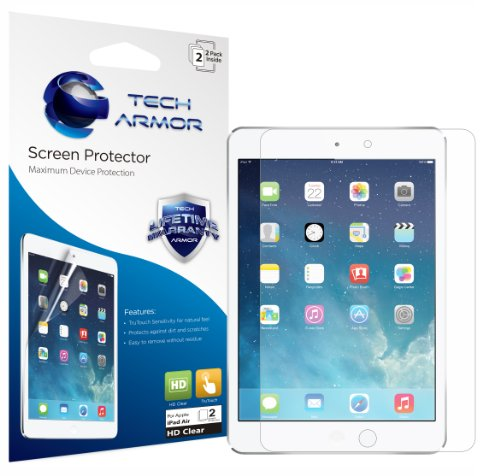 Tech Armor Apple iPad Air (Generation 5) High Defintion (HD) Clear Screen Protectors -- Maximum Clarity and Touchscreen Accuracy [2Pack] Lifetime Warranty