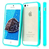 Mibs (TM) NEW TPU CLEAR HARD BACK SILICON TPU BUMPER COVER CASE FOR iPHONE 4G 4S 5 5G 5C 6(4.7)+ FREE SCREEN GUARD (ipIphone 4, Turquoise)
