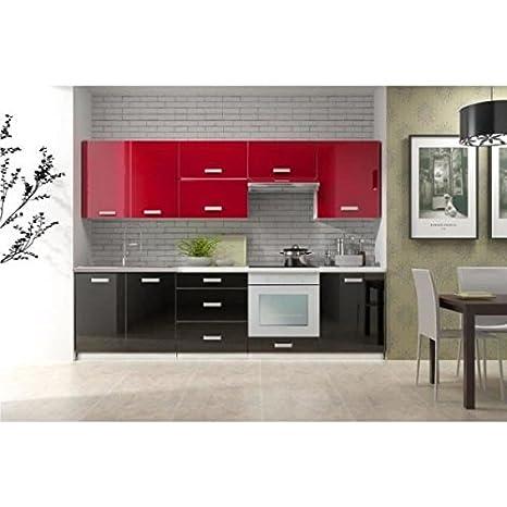 Cuisine complète en kit TORO 2m60 bi-color noir et rouge