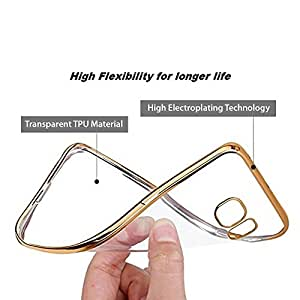 Dashmesh Shopping Electroplated Edge TPU ultra thin soft gel transparent Cover with Golden Border for Samsung Galaxy J7 (2016)