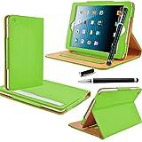 Apple iPad Mini / Mini 2 / Mini 3 - Smart Leather Wallet Flip Stand Case Cover With Full Sleep Wake Compatibility + Screen Protector + Polishing Cloth ( Green Smart )