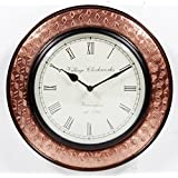 Home And Bazaar Traditional Rajasthani Wall Clock With Copper Finish 12""