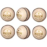 PSE Unisex Leather White Cricket Ball- Pack Of 6 White