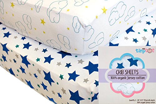 Fitted Crib Sheets - 100% Organic Jersey Cotton - 2-Pack, Extremely Soft, Breathable, Cuddly, Snugly Fits all Standard Crib Mattresses, Finest Organic Cotton, Cute Designs for Boys (Tiny Tots Mobile compare prices)