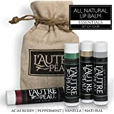 All Natural Lip Balm By Lautre Peau   Peppermint, Acai Berry, Vanilla & Natural Flavors Special 4 Pack Gift Set...