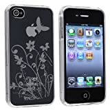 INSTEN Clear Flower with Butterfly TPU Rubber Skin Case Compatible with Apple® iPhone® 4S AT&T / Verizon / Sprint