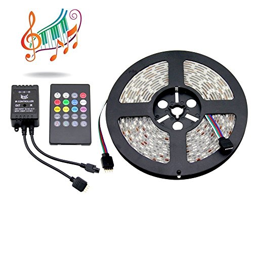 Supernight Music Controlled Led Strip Kit 5050 Smd Waterproof Rgb Color Changing Led Strip 150Leds/Reel + 20-Key Music Sound Sense Ir Controller For Holiday Festival Lighting Decoration(Power Adapter Is Not Included)
