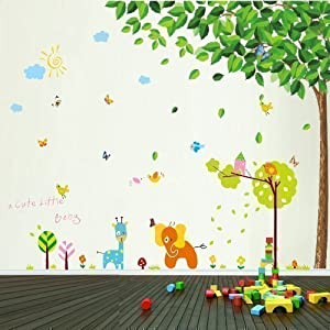 Green Leaves Plus Baby Elephant Walplus Wall Stickers, Mixed Color