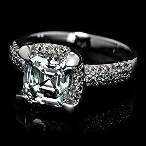 Celebrity Star Emitations Talitha's Fake Engagement Ring: Asscher Cut CZ Size 8 by Enlightened Expressions