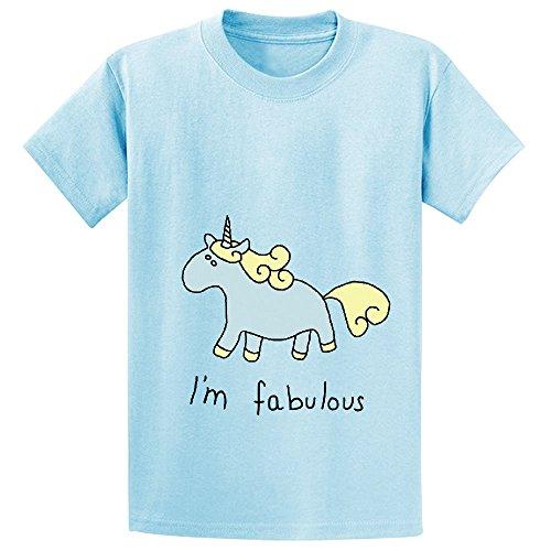 Snowl Fabulous Unicorn I Am Fabulous Teen Crew Neck Short Sleeve Shirts L-blue (Construction Pals Centerpiece)
