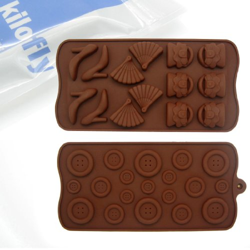kilofly Silicone Chocolate Mold Tray Pack [Set of 2], Fashion Collection