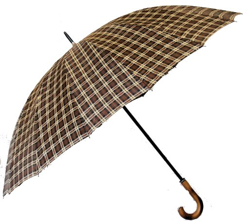 Jani Markel Mens Tartan Golf - Walking Umbrella Brown/Green