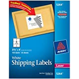 Avery® White Shipping Labels for Laser Printers with  TrueBlock(TM) Technology, 3-1/3 inches x 4 inches, 6 Labels, 25 Sheets,  (5264)