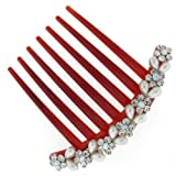 Vintage Crystal Daisy and Pearl Pattern Hair Comb Slide - Free Gift Pouch / B...