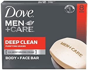 Dove Men+Care Body and Face Bar, Deep Clean 4 oz, 8 Bar