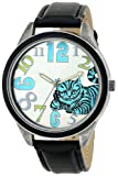 Alice in Wonderland Women's AL1002B Cheshire Cat Silver Dial Black Leather Strap Watch