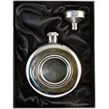 Personalised Engraved 5oz Round Hip Flask with Clear Front in Presentation Box