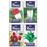 SUPER GREAT COMBO RADISH HALF RED LONG, PURE WHITE LONG, TURNIP FULL RED N SARSO SAAG LEAVES SEEDS 4PKTS X50 SEEDS...