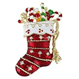 [エバーフェイス] EVER FAITH オーストリアン クリスタル エナメル サンタさんのブーツ型 キャンディ 飴 ブローチ レッド ゴールドトーン [並行輸入品]