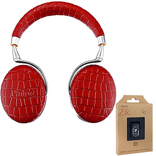 Parrot Zik 3 Wireless Noise Cancelling Touch Control Bluetooth Headphones (Red Croc) with Parrot Interchangable Battry for Zik 2 and Zik 3