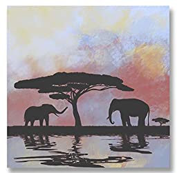 Neron Art - Hand painted Animal Oil Painting on Gallery Wrapped Canvas - Elephants Oasis 20X20 inch (51X51 cm)